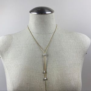 Goldtone & Silver Lariat Necklace Avon
